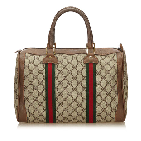 GUCCI GG WEB SUPREME PLUS BOSTON BAG - leefluxury.com