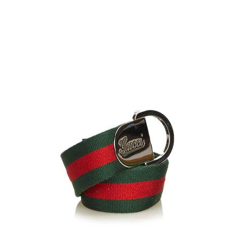GUCCI WEB CURSIVE LOGO BELT Shop online the best value on authentic designer used preowned consignment on Leef Luxury.
