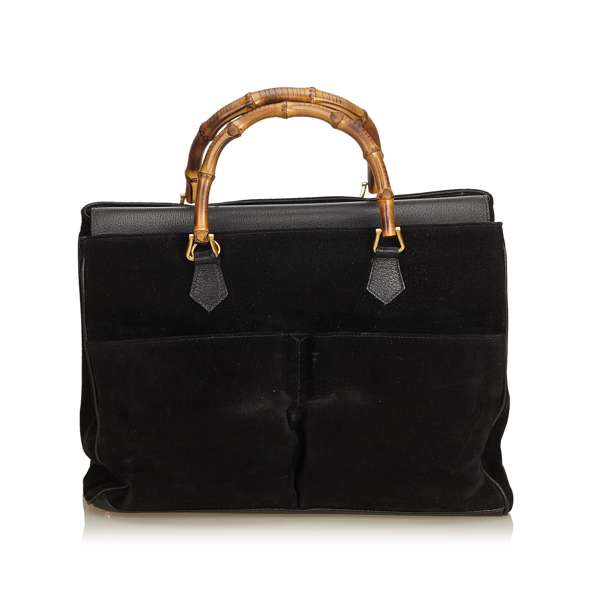 08b0a482a08d0 GUCCI BAMBOO SUEDE TOP HANDLE BAG Shop online the best value on authentic  designer used preowned ...