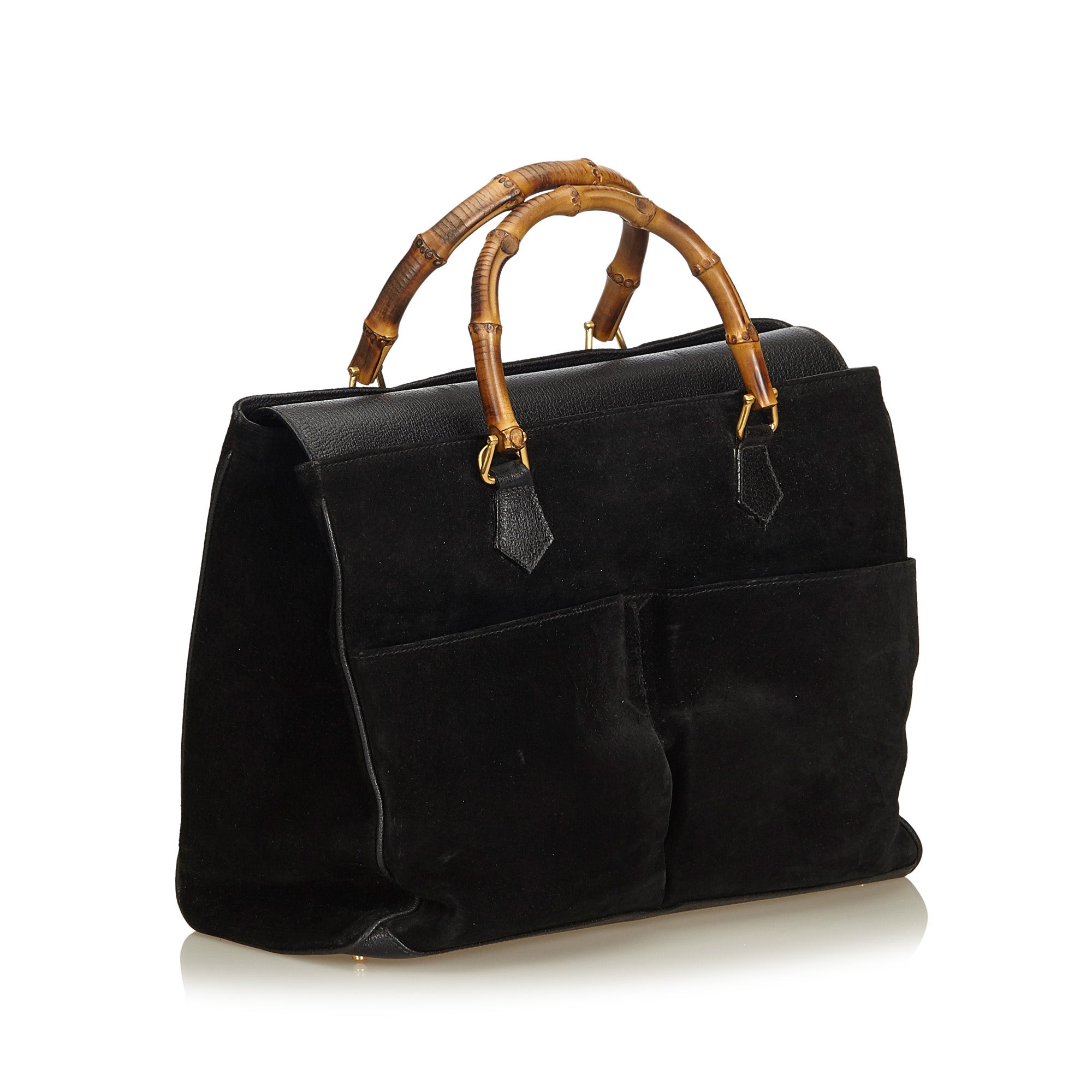 8a8c08e5a2d0 ... GUCCI BAMBOO SUEDE TOP HANDLE BAG Shop online the best value on  authentic designer used preowned ...