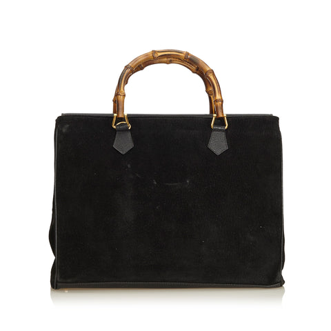 GUCCI BAMBOO SUEDE TOP HANDLE BAG Shop online the best value on authentic designer used preowned consignment on Leef Luxury.