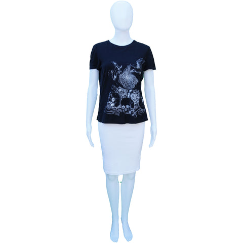 ALEXANDER MCQUEEN SKULL APPLE BIRD SHORT SLEEVE GRAPHIC T-SHIRT TOP - leefluxury.com