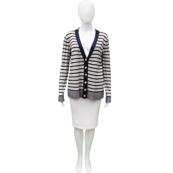 ALEXANDER WANG STRIPED CASHMERE LONG SLEEVE CARDIGAN