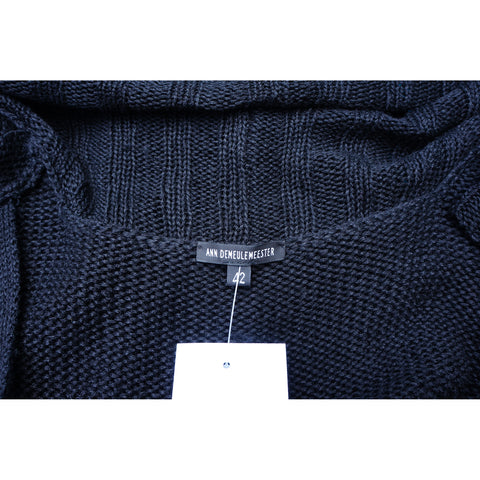 ANN DEMEULEMEESTER BLACK OPEN KNIT SILK BLEND CARDIGAN  Shop online the best value on authentic designer used preowned consignment on Leef Luxury.