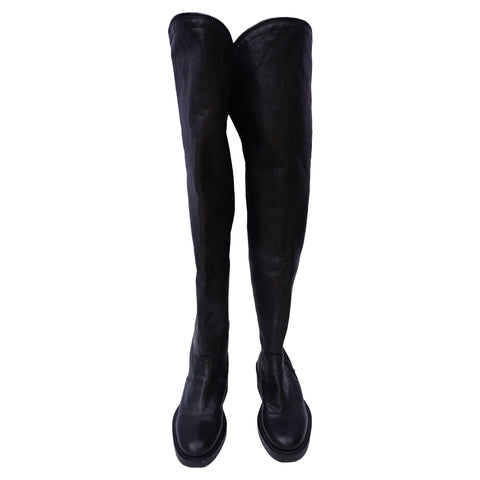 ANN DEMEULEMEESTER LEATHER OVER-THE-KNEE BOOTS - leefluxury.com