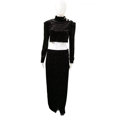 BALMAIN PRE FALL 2018 GLITTER VELVET CROP TOP MAXI SKIRT NEW WITH TAGS - leefluxury.com