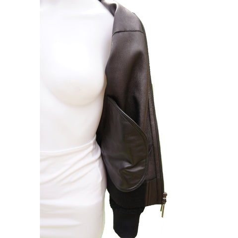 BEYMAN COLLECTION LEATHER SHEARLING SIYAH BOMBER JACKET - leefluxury.com