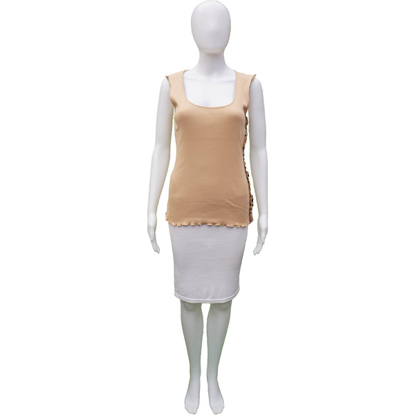 BURBERRY LONDON TAN SLEEVELESS RUFFLE TRIM KNIT TOP