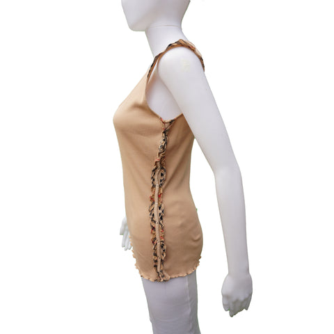BURBERRY LONDON TAN SLEEVELESS RUFFLE TRIM KNIT TOP - leefluxury.com