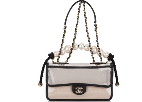 Chanel Sand By The Sea Flap Bag Pearl PVC Clear - leefluxury.com