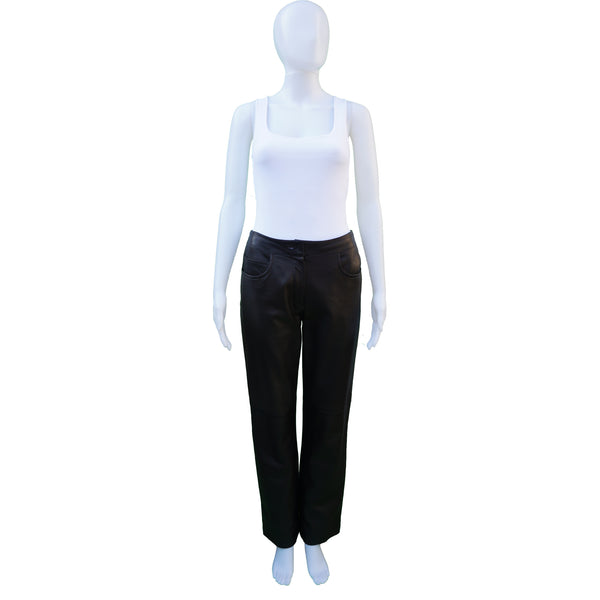 CHANEL BLACK BROWN LAMBSKIN LEATHER PANTS