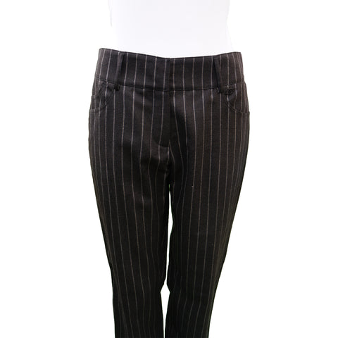 CHANEL CHARCOAL PINSTRIPE WOOL STRAIGHT LEG PANT Shop online the best value on authentic designer used preowned consignment on Leef Luxury.