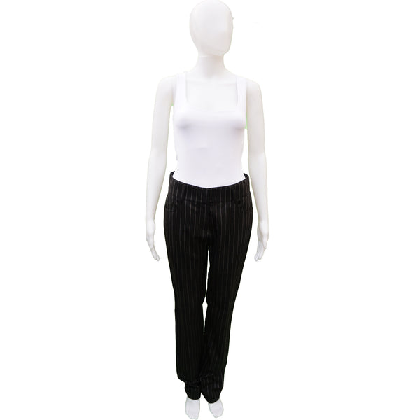 CHANEL CHARCOAL PINSTRIPE WOOL STRAIGHT LEG PANT