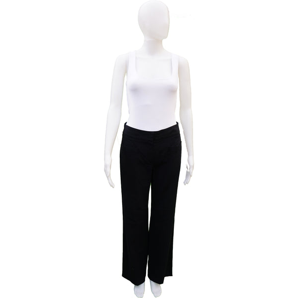 CHANEL BLACK WOOL WIDE LEG PANT