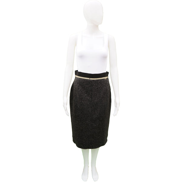 CHANEL GREY TWEED CASHMERE SKIRT