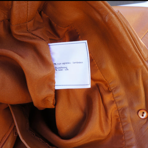 CHANEL MID-RISE CARAMEL LAMBSKIN LEATHER PANTS Shop the best value on authentic designer resale consignment on Leef Luxury.
