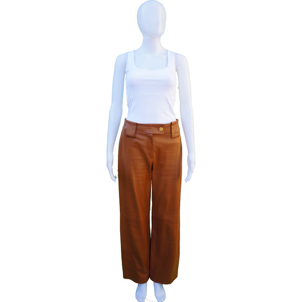 CHANEL MID-RISE CARAMEL LAMBSKIN LEATHER PANTS