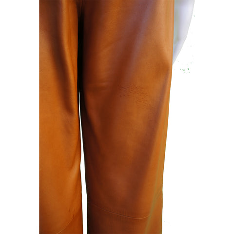 CHANEL MID-RISE CARAMEL LAMBSKIN LEATHER PANTS - leefluxury.com