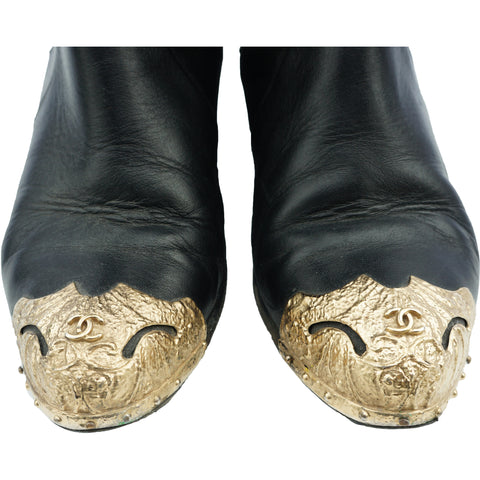 CHANEL PARIS-DALLAS CAP-TOE BOOTS - leefluxury.com