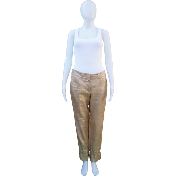 CHANEL GOLD LINEN CROPPED PANTS