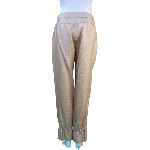 CHANEL GOLD LINEN CROPPED PANTS Shop the best value on authentic designer resale consignment on Leef Luxury.