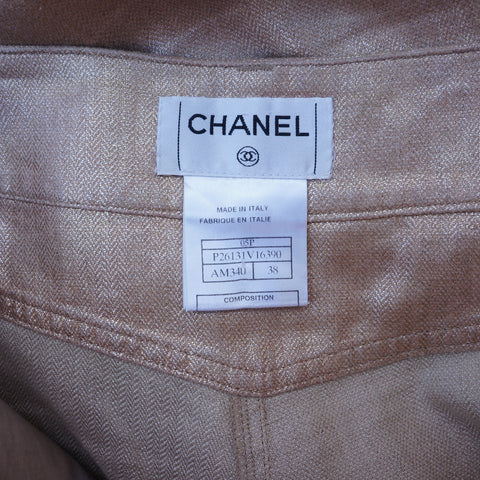 CHANEL GOLD LINEN CROPPED PANTS - leefluxury.com