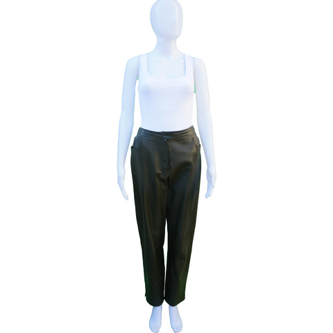 CHANEL MID-RISE GREEN LAMBSKIN LEATHER PANTS Shop the best value on authentic designer resale consignment on Leef Luxury.