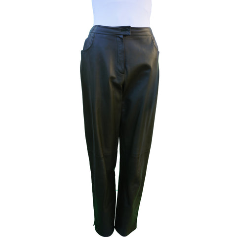 CHANEL HIGH-RISE GREEN LAMBSKIN LEATHER PANTS - leefluxury.com
