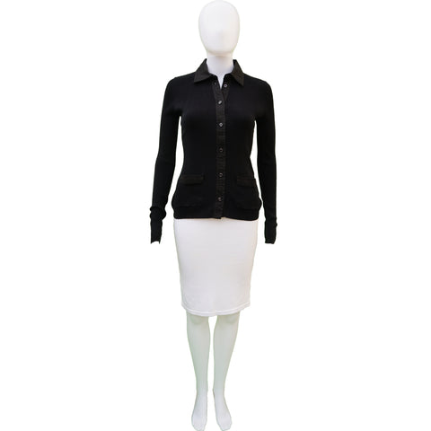 CHANEL BLACK RIB KNIT COLLARED BUTTON UP TOP - leefluxury.com