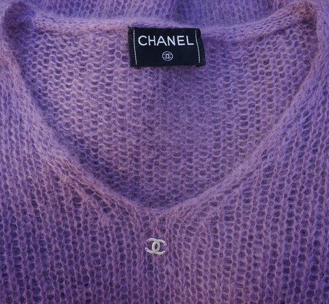 CHANEL MOHAIR OPEN KNIT SWEATER Shop the best value on authentic designer resale consignment on Leef Luxury.
