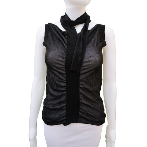 CHANEL SEMI SHEER SLEEVELESS RUCHED TANK TOP - leefluxury.com