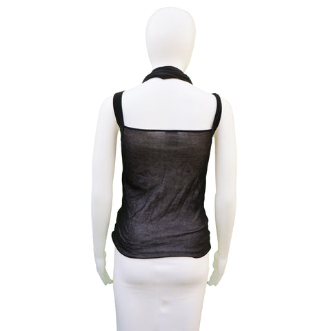 CHANEL SEMI SHEER SLEEVLESS RUCHED TANK TOP  Shop online the best value on authentic designer used preowned consignment on Leef Luxury.