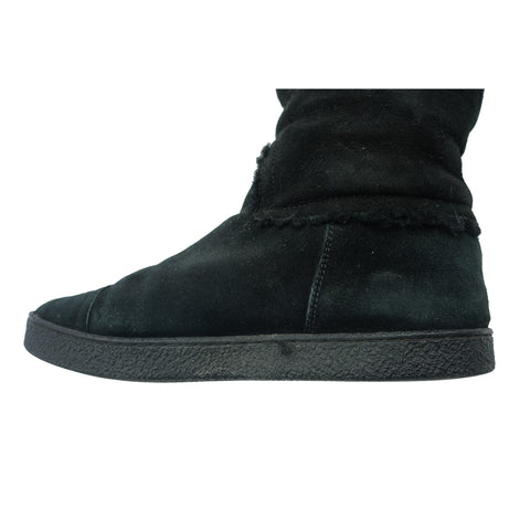 CHANEL CC MID-CALF SUEDE BOOTS Shop online the best value on authentic designer used preowned consignment on Leef Luxury.