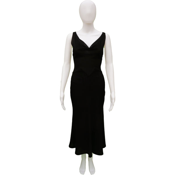 CHRISTIAN DIOR SLEEVELESS BLACK MIDI COCKTAIL NIGHT OUT DRESS