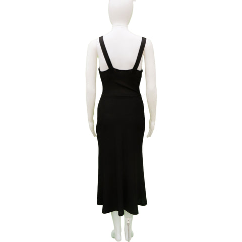 CHRISTIAN DIOR SLEEVELESS BLACK MIDI COCKTAIL NIGHT OUT DRESS - leefluxury.com