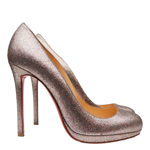 CHRISTIAN LOUBOUTIN GLITTER SIMPLE PUMP - leefluxury.com