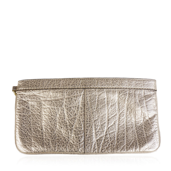 COACH METALLIC GRAINED LEATHER WRISTLET CLUTCH BAG