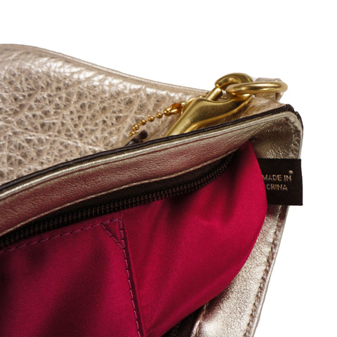 COACH METALLIC GRAINED LEATHER WRISTLET CLUTCH BAG - leefluxury.com