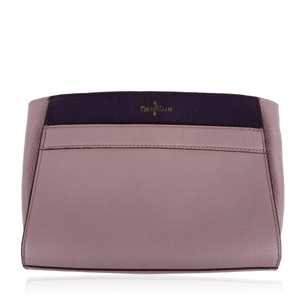 COLE HAAN PURPLE TAUPE LEATHER CONVERTIBLE CLUTCH SHOULDER BAG