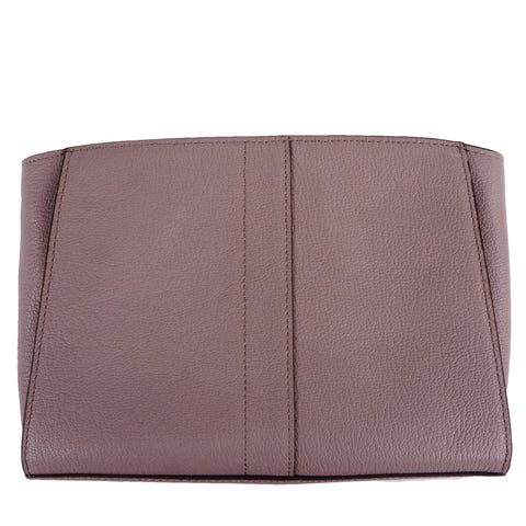 COLE HAAN PURPLE TAUPE LEATHER CONVERTIBLE CLUTCH SHOULDER BAG - leefluxury.com
