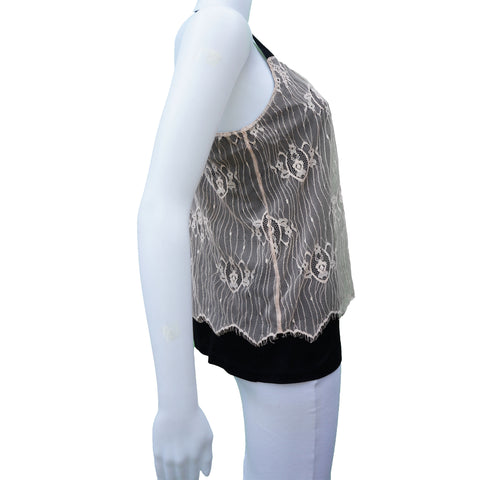 COP COPINE LACE OVERLAY HALTER TOP - leefluxury.com
