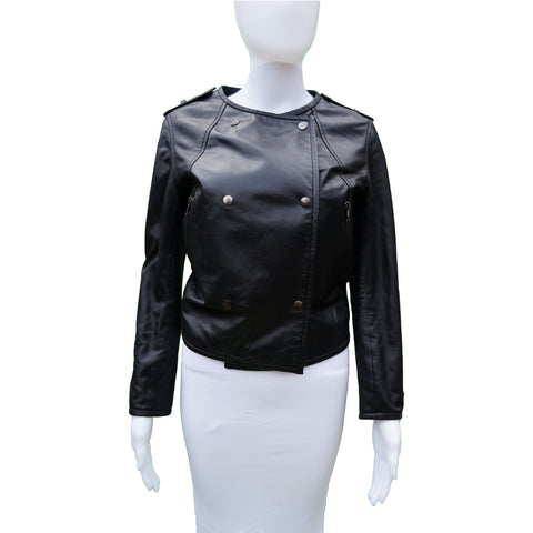 COP COPINE LEATHER BOMBER MOTO JACKET - leefluxury.com