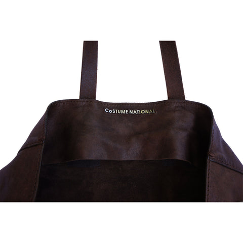 COSTUME NATIONAL REVERSIBLE DOUBLE TOTE BROWN LEATHER BAG - leefluxury.com