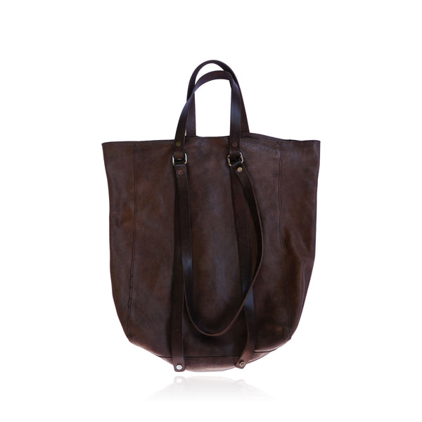 COSTUME NATIONAL REVERSIBLE DOUBLE TOTE BROWN LEATHER BAG