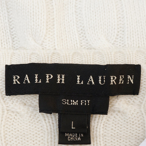RALPH LAUREN BLACK LABEL CREAM CABLE KNIT CASHMERE TOP - leefluxury.com