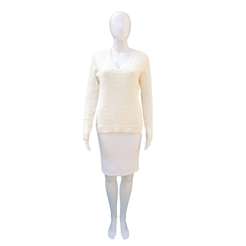 RALPH LAUREN BLACK LABEL CREAM CABLE KNIT CASHMERE TOP on Leef luxury authentic designer resale consignment