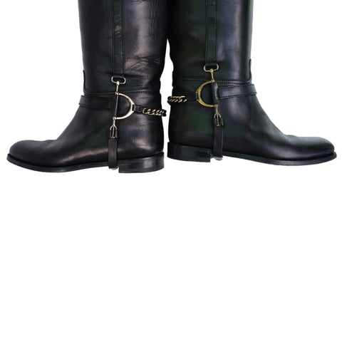 Ralph Lauren Black Leather Knee High Riding Boots
