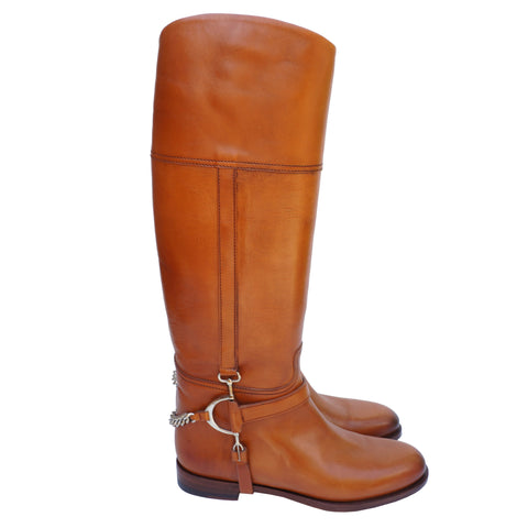 Ralph Lauren Tan Leather Knee High Riding Boots