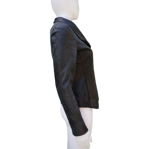 AKRIS PUNTO LEATHER MOTO JACKET Shop online the best value on authentic designer used preowned consignment on Leef Luxury