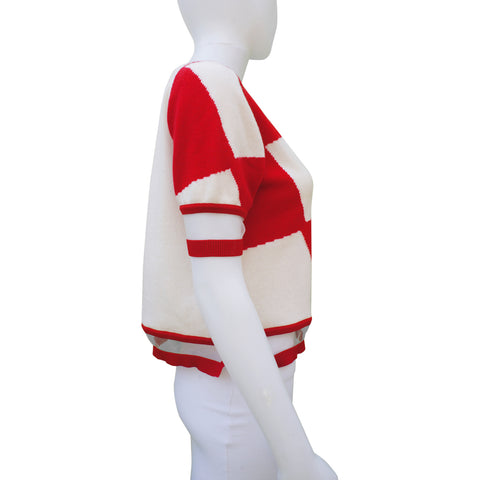FENDI RED AND WHITE HARLEQUIN PRINT KNIT & MESH TOP Shop online the best value on authentic designer used preowned consignment on Leef Luxury.